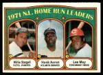 1972 Topps #89   -  Hank Aaron / Willie Stargell / Lee May NL HR Leaders   Front Thumbnail