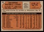 1972 Topps #287  Jim Hardin  Back Thumbnail