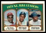 1972 Topps #87   -  Hank Aaron / Willie Stargell / Joe Torre NL RBI Leaders   Front Thumbnail