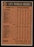 1972 Topps #228   -  Manny Sanguillen / Frank Robinson 1971 World Series - Game #6 Back Thumbnail