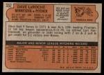 1972 Topps #352  Dave LaRoche  Back Thumbnail