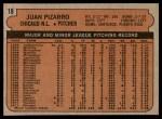 1972 Topps #18 GRN Juan Pizarro  Back Thumbnail