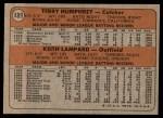 1972 Topps #489   -  Terry Humphrey / Keith Lampard Expos Rookies   Back Thumbnail