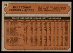 1972 Topps #19  Billy Cowan  Back Thumbnail