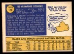 1970 Topps #174  Ted Sizemore  Back Thumbnail