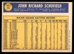 1970 Topps #251  Dick Schofield  Back Thumbnail