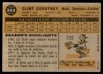 1960 Topps #344  Clint Courtney  Back Thumbnail
