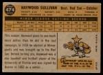 1960 Topps #474  Haywood Sullivan  Back Thumbnail