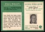 1966 Philadelphia #51  Paul Wiggin  Back Thumbnail