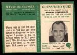 1966 Philadelphia #74  Wayne Rasmussen  Back Thumbnail