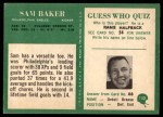 1966 Philadelphia #132  Sam Baker  Back Thumbnail