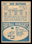 1968 Topps #169  Don Maynard  Back Thumbnail