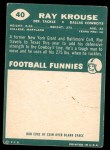 1960 Topps #40  Ray Krouse  Back Thumbnail