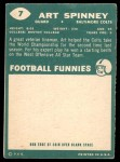 1960 Topps #7  Art Spinney  Back Thumbnail