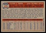 1957 Topps #43  Connie Johnson  Back Thumbnail