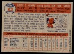 1957 Topps #82  Elston Howard  Back Thumbnail