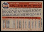 1957 Topps #137  Bob Rush  Back Thumbnail
