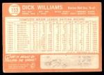 1964 Topps #153  Dick Williams  Back Thumbnail