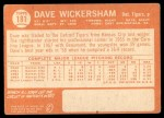 1964 Topps #181  Dave Wickersham  Back Thumbnail