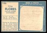 1961 Topps #186  Tom Flores  Back Thumbnail