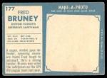 1961 Topps #177  Fred Bruney  Back Thumbnail