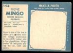 1961 Topps #194  Gene Mingo  Back Thumbnail