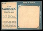1961 Topps #155  Tom Saidock  Back Thumbnail