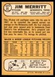 1968 Topps #64  Jim Merritt  Back Thumbnail