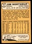 1968 Topps #78  Jim Northrup  Back Thumbnail