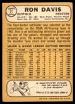 1968 Topps #21  Ron Davis  Back Thumbnail