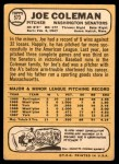 1968 Topps #573  Joe Coleman  Back Thumbnail
