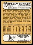 1968 Topps #489  Wally Bunker  Back Thumbnail
