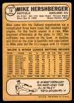 1968 Topps #18  Mike Hershberger  Back Thumbnail