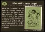 1969 Topps #99  Ron Mix  Back Thumbnail