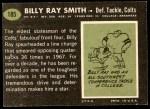 1969 Topps #185  Billy Ray Smith  Back Thumbnail