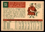 1959 Topps #13  Dick Gernert  Back Thumbnail