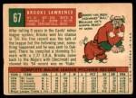1959 Topps #67  Brooks Lawrence  Back Thumbnail