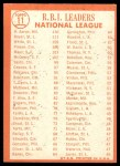 1964 Topps #11   -  Hank Aaron / Ken Boyer / Bill White NL RBI Leaders Back Thumbnail