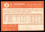 1964 Topps #86  Al Downing  Back Thumbnail