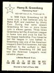 1961 Golden Press #4  Hank Greenberg  Back Thumbnail