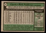 1979 Topps #34  Rob Andrews  Back Thumbnail