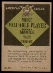 1961 Topps #475   -  Mickey Mantle Most Valuable Player Back Thumbnail
