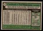 1979 Topps #510  Ted Simmons  Back Thumbnail