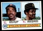 1979 Topps #4   -  Ron LeFlore / Omar Moreno SB Leaders   Front Thumbnail