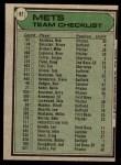 1979 Topps #82   -  Joe Torre Mets Team Checklist Back Thumbnail