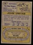 1974 Topps #150  Johnny Unitas  Back Thumbnail