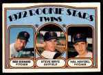 1972 O-Pee-Chee #28   -  Steve Brye / Bob Gebhard / Hal Haydel Twins Rookies  Front Thumbnail
