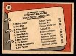 1972 O-Pee-Chee #94   -  Vida Blue / Mickey Lolich / Wilbur Wood AL Pitching Leaders   Back Thumbnail