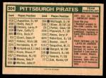 1975 O-Pee-Chee #304   -  Danny Murtaugh Pirates Team Checklist Back Thumbnail