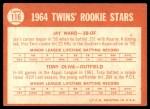 1964 Topps #116   -  Tony Oliva / Jay Ward Twins Rookies Back Thumbnail